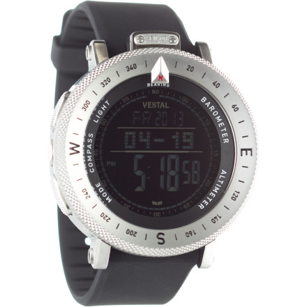 Camp and Hike Vestal was founded in Newport Beach, California, where it built its brand based on forward- thinking watch designs and apparel. The Guide ABC Watch brings a touch of this beach-culture ethic to the mountains, but it's truly an instrument of the outdoors. Rich in features, this watch offers the guidance of a compass and altimeter and the rich information provided by a thermometer, barometer, and multi-function chronograph. Small touches include an EL backlight and an LCD face with adjustable contrast, both proof of Vestal's dedication to details. This is a watch that will more than satisfy the dedicate mountain athlete and leave the information-hungry urbanite frothing at the mouth. - $379.95
