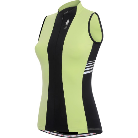 Fitness Come summertime, we fully support staying as cool as possible on your rides. And when it comes to jerseys, nothing keeps you cooler than a sleeveless option. So, with this in mind, the Italian Zero RH + created its new Stripe Women's Jersey in both a sleeved and Sleeveless version. Now, you're able to take advantage of Zero RH +'s Italian precision and fit, regardless of how hot the weather is. The body panels of the Stripe jersey were constructed with the Firedry Gold 100 fabric. Zero RH +'s Firedry is a system of materials made into four versions that are distinguished by different weights and stretch characteristics. As with all of the Firedry fabrics, the Gold is lightweight and breathes exceptionally well. It also incorporates highly-elastic fibers that support the body's muscle through a full range of motion. However, what sets the Gold 100 iteration apart from the other variants is its super-soft feel against the skin and added stretch. The front and rear torso panels were constructed with this fabric due to its ability to firmly hold your core muscles in place while riding. Additionally, the material manages moisture quite well, while also maintaining a high-level of breathability. As for the fit of the Stripe, the jersey's panels were joined together using a technique known as 'preformed anatomic construction.' This method of cutting the individual panels on a curve provides a comfortable, natural fit, especially in the crouched riding position. Zero RH + knows that this tucked-in fit requires special attention to areas prone to fabric bunching and pulling, which is why it notched a 'V' shape in the back of the neck for a free range of head motion. It also rounded out the bottom hem and treated it with a generous, elastic/microfiber gripper in order to keep the jersey's lower half secure. Finishing details on the Stripe jersey include three rear pockets and reflective elements. - $83.81