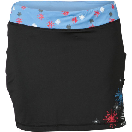 MTB If you love Zoic's regular Lourdes Wrap Skort, but want something with a little more pop and pep, the Print Wrap Skort is just the thing. The only difference is the print --you get the same comfortable, moisture-wicking, and supportive skort you've grown to love. The most important feature of the Lourdes Wrap Skort is its chamois liner. The chamois, called the ZO-Tech, is ZOIC's highest-quality, multi-level, stretch chamois. The chamois cushions impacts and reduces vibrations in the saddle. While you may not even really feel these vibrations, your muscles do, and all that shock and vibration causes fatigue. The liner is also fully removable to make it easy to clean or even wear with other shorts to instantly transform them into bike shorts.The Lourdes' list of features doesn't end with its removable chamois liner, though. The whole body of the Lourdes Wrap Skort is made with a stretch material that won't bind or limit your range of motion. The fabric also pulls moisture away from your skin to keep you dry and comfortable. The Lourdes comes with a hidden key pocket in front and a stealth rear zippered pocket so you have plenty of room for your essentials without messing up the Lourdes' style with big, bulky pockets. There's even a dedicated media pocket for your phone or MP3 player with a headphone cord control grommet and loop to avoid snags.As far as fit is concerned, the Lourdes' hem falls at mid-thigh, and the double-band stretch Lycra waistband fits securely without binding or pinching. The ZOIC Women's Lourdes Print Wrap Skort comes in sizes X-Small through X-Large. It's available in Spice, Castle, Black, White, and Wisp. - $68.95