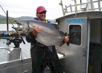 Fishing Kodiak Sportsman's Lodge - hook a 60 pound salmon and the fight is on!