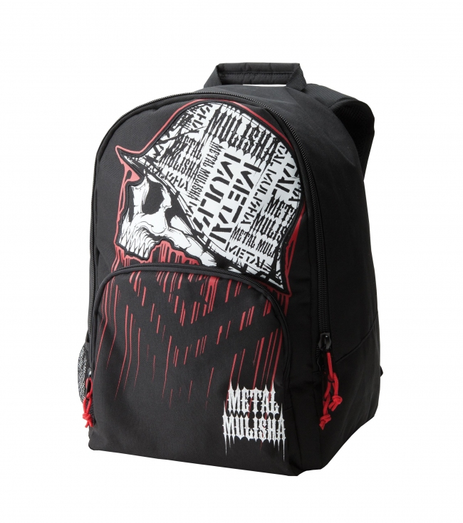 "Motorsports Metal Mulisha Mens backpack.  Black denier polyester backpack with engineered print and applique helmet; red zipper pulls; organizer pocket; mesh pocket; color text logo and color screen helmet.13""W x 16.7""T x 8.5""D - $21.99"