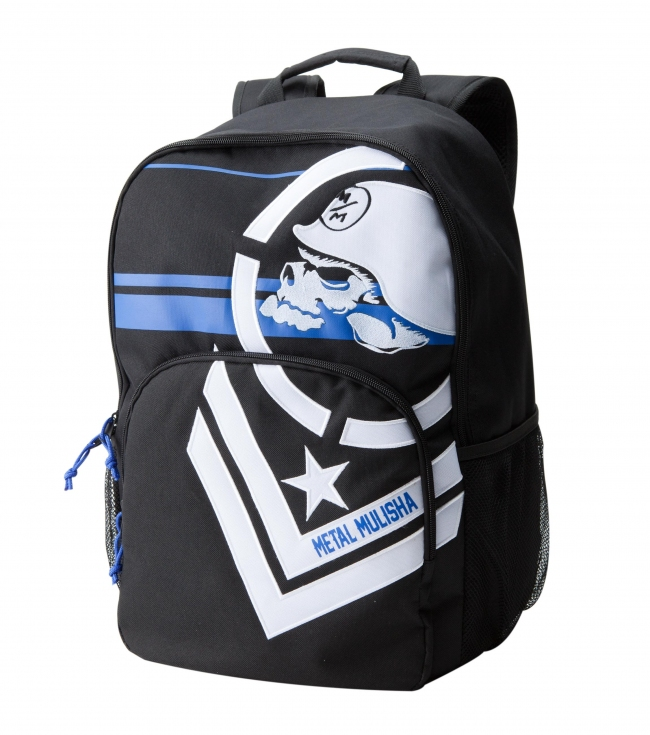 "Motorsports Metal Mulisha Mens backpack.  Black denier polyester backpack with color stripe print; faux chevron applique; mesh pocket and organizer pocket.12.5""W x 17.5""T x 8.5""D - $21.99"
