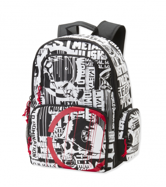 "Motorsports Metal Mulisha Mens backpack.  Black denier polyester backpack; allover print with scope logo; tricot lined sunglass pocket; mesh pocket;side zipper pocket and engineered print on strap.13.5""W x 17.5""T x 9""D - $22.99"
