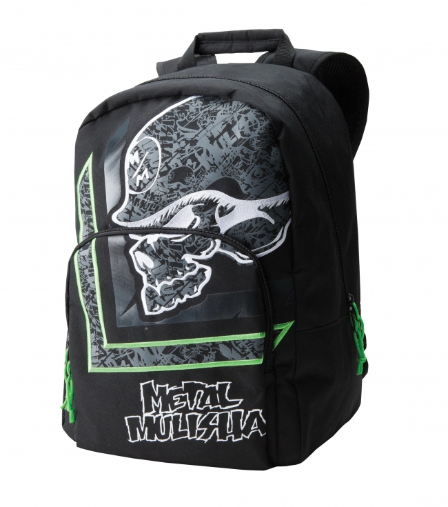 "Motorsports Metal Mulisha Mens backpack.  Black denier polyester backpack with embroidery applique at main compartment and organizer pocket with padded iPad sleeve and pockets; mesh pocket and print at side S-curved strap.12""W x 18""T x 8.5""D - $28.99"