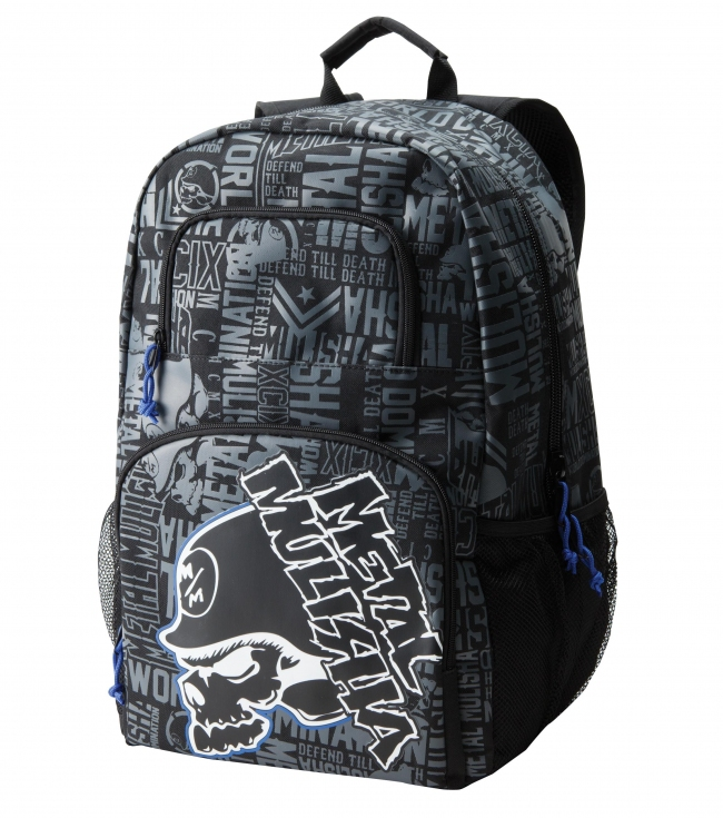 "Motorsports Metal Mulisha Mens backpack.  Black denier polyester backpack allover print with front logo print on organizer pocket; padded laptop sleeve inside main compartment; mesh pockets; tricot lined sunglass pocket and S-curve shape straps.13""W x 19""T x 8'D - $26.99"