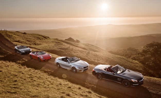 Auto and Cycle Topless Hedonism: BMW M6, Porsche 911, Mercedes SL63, and Jag XKR-S Convertibles Compared. Article by Aaron Robinson posted April 26, 2013