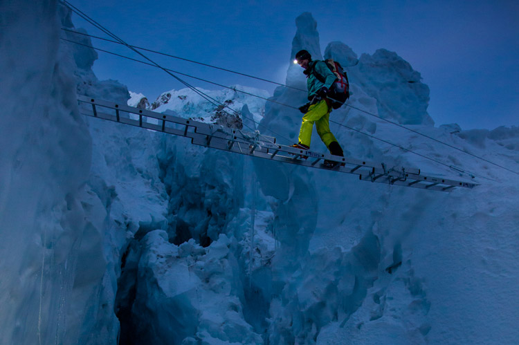 Climbing Hilaree O'Neill moves through the Khumbu Icefall on the way to Camp 2.