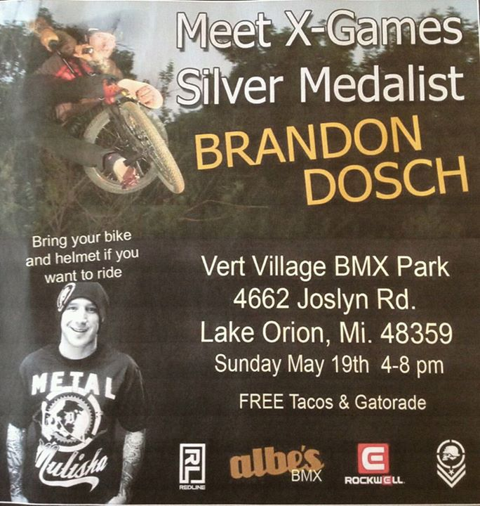 Motorsports Come out and join the fun! This Sunday kick down $10.00 to ride from 4 - 8pm. Ride and meet with  Lake Orion, Michigan's own X Games Silver BMW Medalist Brandon Dosch.