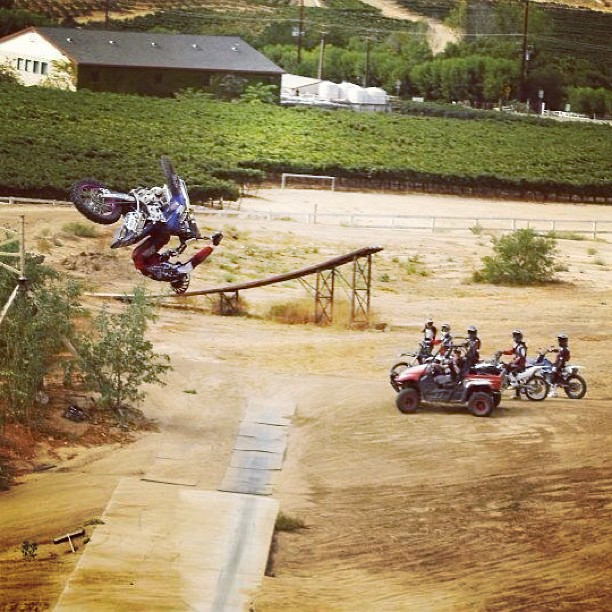 Motorsports Throwback Thursday: Rob Adelberg riding Jimmy Fitzpatrick 's FMX Compound while filming the Metal Mulisha Movie, Black Friday.