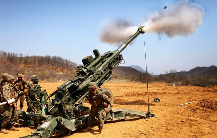Guns and Military Blowing Smoke  Marines with 1st Battalion, 12th Marine Regiment, fire the M777A2 155mm howitzer April 17 in support of a combined arms live-fire exercise at Rodriguez Live-Fire Complex during Korean Marine Exchange Program 13-5, part of Ssang Yong 13. The