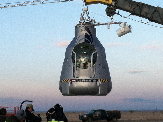 Extreme Baumgartner in the capsule, ready to go