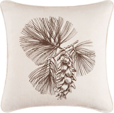 "Hunting Sleepy Forest Pillows add a refreshing, woodland look and feel to any home. Cotton-filled pillows are pre-washed and machine washable. Per each. Imported.Available:Pine Cone Pillow Off-white pillow highlighted by a rustic depiction of a pine cone hanging from a branch.Dimensions: 18L x 18W.Antler Pillow Brown antlers complemented by an off-white background.Dimensions: 12L x 24W.Welcome Pillow Tanned face with an invitation of Welcome to our neck of the woods in rustic, lodge-style font. Accented by a green, tan and red plaid frame.Dimensions: 14L x 20W. Type: Pillows. Size 18"" Pine Cone Plw. - $34.99"