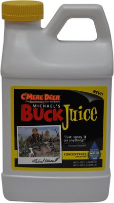 Hunting The blend of plant, root, bean and berry extracts produces an aroma and taste deer can t resist. Spray or pour on feed for consistent deer feeding; spray on stumps or logs for more deer activity. Buck Juice reaches maximum effectiveness in 48-72 hours.Size: 40-oz. concentrate. - $9.88