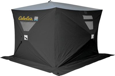 Fitness Developed by the Clam Outdoors Ice Team, these shelters offer quality and portability at an affordable price. Cabelas Ice Team Hubs are easy to set up and are made of quality 600-denier polyester that absorbs solar energy and retains heat. 6-ft. x 8-ft. dimensions will fit three to four anglers. Dual doors make for easy entry. Windows on four sides. Includes ice anchor screws. Meets Canadian fire-retardant standards. Imported. Dimensions: 96L x 72W x 78H. Packed dimensions: 60L x 10W x 16H. Weight: 32 lbs. - $179.88