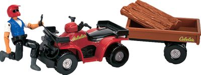Let the adventure begin! Cabelas ATV Accessory Play Set is complete with working parts, and is sure to be a hit with your little ones. The 4 riders movable joints make him easy to position on the Cabelas ATV that features a working tow winch, trailer hitch, wagon and logs. ATV and wagon measures 9-1/2 long. Ages 3+. - $5.88