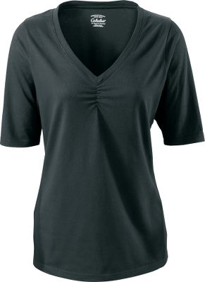 Fitness Lightweight and relaxed fitting, the Cabelas Womens North Haven 1/2 Sleeve Shirt is a perfect addition to your comfortable wardrobe. Made of 57% cotton/38% modal/5% lycra jersey, this shirt was built for long-lasting wear. Ruched V-neck adds a textured flair to the neckline. Imported. Center-back length for size medium: 25-1/4. Sizes: S-2XL. Colors: Black, Sandy Beach, Soft Plum, Storm Teal. Size: Small. Color: Sandy Beach. Gender: Female. Age Group: Adult. Material: Cotton. Type: Short-Sleeve Tee Shirts. - $7.88