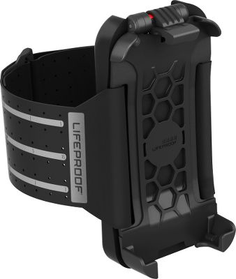 Entertainment Strap the Lifeproof iPhone 5 Armband case to your arm and hit the road. The LifeProof Armband lets you join in the action with your iPhone close at hand so your GPS, camera, performance trackers, training apps, music and communications are always within arms reach. Made of supple, breathable spandex and thick padding, this iPhone 5 armband is comfortable for the long haul. The 65mm-wide strap and nonslip silicone dots keep everything stable and add to the comfort. The Velcro strap adjusts to fit biceps between 10 to 23. The cradle features a one-handed release latch for fast iPhone loading and unloading. An integrated lock switch keeps your device secure. Plus, you have complete access to all buttons, controls, camera, speaker and microphone. The entire assembly weighs a scant 2.1 oz., so it wont slow you down. (iPhone not included). Imported.Note: Designed to be used with Lifeproof cell-phone cases only. Type: Arm Band. - $44.88