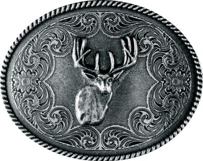 Hunting Western Edges Antique Deer Head Oval Belt Buckle makes an excellent addition to any deer hunters wardrobe. Forged from zinc alloy and finished with antiqued nickel-silver plating.Dimensions: 3H x 4W.Weight: 8.5 oz. - $14.99