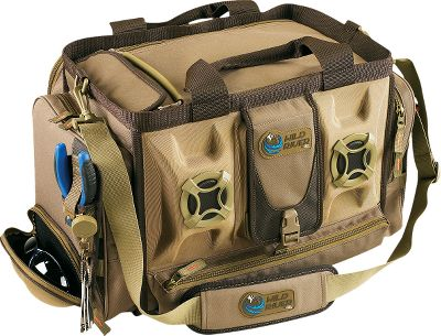 Get in the groove with the high-tech Rogue tackle bag by Wild River, featuring a built-in stereo speaker system. Speaker system includes 3.5mm TRS stereo jack that connects to your iPod or other MP3 device, and is powered by transformer or 12-volt adapter (included). This massive pack has the capacity to hold up to four 3700-series trays, ensuring you have plenty of space for all your lures. Its side zippered pockets are ideal for all your extra gear, while a molded holder keeps sunglasses safe and dry. Top flap unzips to reveal additional storage. 600-denier polyester. Other features include: protective rain cover, mesh pockets, web loops for securing tools, removable steel cable lanyard and plier holder. Imported.Dimensions: 12H x 19.5W x 15.5D.Color: Brown. - $149.88