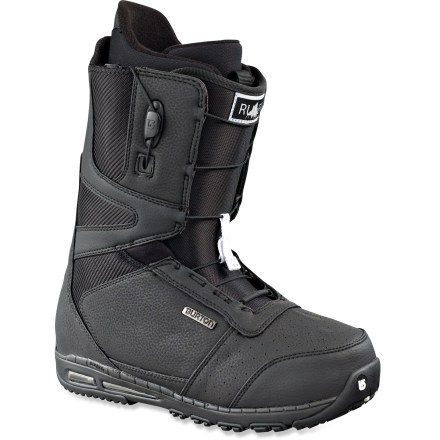 Snowboard From jibs to jumps, the Burton Ruler snowboard boots measure up. With a legacy of pushing personal skills to the pro level, the Ruler is the boot for stepping to larger drops and burlier features. Proven features such as reduced weight and a shrunken footprint, oversize airbags and a stabilizing backstay spine filter top-of-line-tech down to the couch surfer's salary. Shrinkage(TM) technology reduces boot's overall footprint by 1 full size, minimizing boot overhang, bulk and weight. Powerful backstay spines increase medial/lateral support, edge-to-edge response and durability. Strategically placed flex notches allow smooth and fluid lateral and medial flex, perfect for nose bones and tweaked out tail grabs. Medium flexing, slim, 3D-molded tongues wrap the forefeet in comfort, offer a seamless flex and reduce performance-robbing shell/liner stack-up. Snow-proof internal gussets on boot tongues completely seal lower boot zones to keep feet warm and dry. Shock-absorbing air bags cover approximately 75% of the midsoles for a pillowy ride and protection without the weight. Grippy rubber spikes supply that extra edge when traveling across slippery terrain. Streamlined Speed Zone(TM) shell lacing lets you fine-tune the upper and lower zones in seconds; this system offers powerful rebound, wrap and response with minimal effort. To make entry and exit easy, Burton has added a new pull loop on the tongue as well as a lace pull tab that releases both the upper and lower zones simultaneously. Imprint(TM) 2 liners with quick-fit harnesses and lace locks secure feet; lightweight power panels surround calves and ankles with supportive comfort. Get a comfortable fit right out of the box: new, industry-exclusive toe box construction offers a quick break-in period and increases warmth and comfort. - $102.83