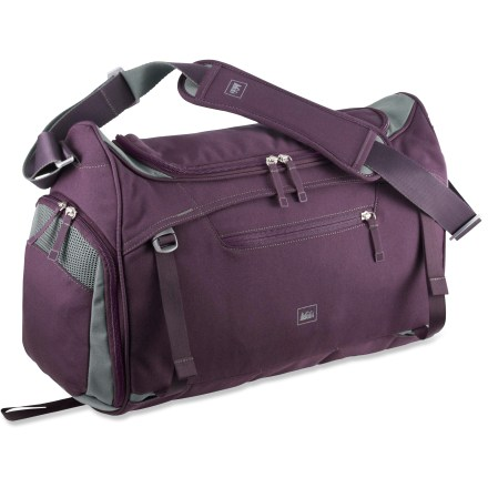 Fitness The REI Balance gym bag keeps your workout and yoga gear ready for travel. Hide-away straps secure a yoga mat to the front rather than the bottom so you can still set the bag down; tuck the straps away for a clean look. Slender bag design fits inside most lockers with convenient access to the main compartment. Sourced from old plastic bottles, post-consumer recycled PET polyester is tough enough to endure the daily grind and helps reduce the amount of plastic in landfills. REI Balance gym bag's large zippered opening gives you easy access to all your workout essentials; side panel can hold a 1-liter water bottle. Separate compartment for your shoes or dirty clothes keeps your clean clothes looking good; large mesh vents help air things out. Front zippered stash pocket keeps your keys and small items handy. Adjustable, padded shoulder strap provides comfortable carrying. Special buy. - $39.73