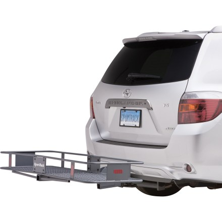 Entertainment If you need extra cargo space and don't want to hassle with loading a roof box, the Hitch Mounted Folding Cargo Carrier from SportRack makes transporting your gear easy and convenient. - $189.95