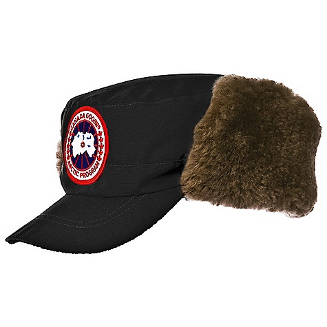 Free Shipping. Canada Goose Classique Hat W- Shearling DECENT FEATURES of the Canada Goose Classique Hat With Beaver Water-resistant Arctic-Tech fabric exterior for durability and weather-resistance Sheared beaver fur ear-flaps with snap closure Adjustable drawcord The SPECS Fur Ruff: Not removable Shell: 190gsm, Arctic-Tech; 85% Polyester, 15% Cotton blend with a DWR finish Lining: 100% Polyester fleece This product can only be shipped within the United States. Please don't hate us. - $149.95