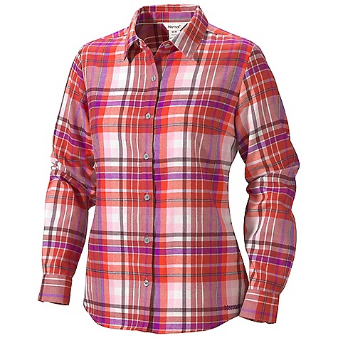 Free Shipping. Marmot Women's Thalia Flannel LS DECENT FEATURES of the Marmot Women's Thalia Flannel Long Sleeve Soft, Comfortable, Mid-Weight Performance Woven Fabric with Twill Texture Technical Hollowcore Flannel for Durability and Thermal Properties Without the Weight Merino Wool for Warmth Ultraviolet Protection Factor (UPF) 50 Quick-Drying and Wicking Durable Flat Felled Seams with Contrast Interior Stitch Shirt Tail Hem The SPECS Weight: 10.2 oz / 289.2 g Material: 93% Hollow Core Polyester 7% Merino Wool Flannel 5.5 oz/ yd Fit: Regular - $89.95