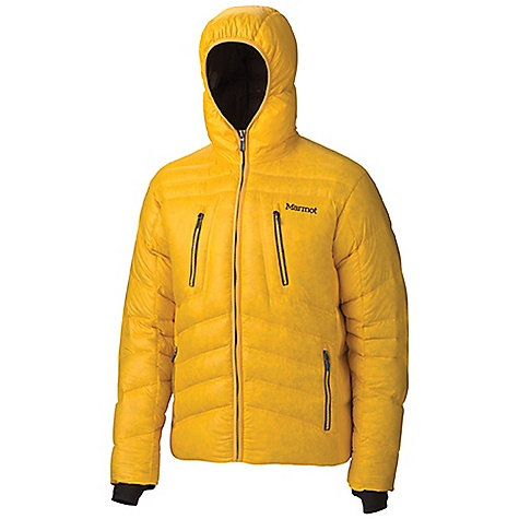 Free Shipping. Marmot Men's Hangtime Jacket DECENT FEATURES of Marmot Men's Hangtime Jacket Attached Down-Filled Hood Napolean Chest Pockets with Vislon Zippers Handwarmer Pockets with Vislon Zippers Interior Zippered Pocket Interior Mesh Storage Pocket Internal Lycra Cuffs with Thumbholes Elastic Draw Cord Hem - For Adjustability in Serious Weather The SPECS Center Back Length: 28in / 71.1cm Overall Weight: 1 lbs 6.1 oz / 626.5 g Main Material: 100% Nylon DWR Shiny Plain Weave 1.4 oz/yd Insulation Material: 650 Fill Goose Down - $244.95