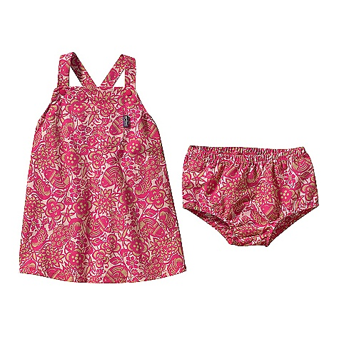 Patagonia Baby Baggies Apron Dress DECENT FEATURES of the Patagonia Baby Baggies Apron Dress Made of durable, lightweight Supplex nylon that dries fast and has a DWR finish Dress with adjustable straps; easy on/off diaper cover doubles as swim wear; stay-put elastic on waist and legs Above knee length The SPECS Relaxed fit Weight: 3.3 oz / 94 g Fabric: 4-ply, 4.2-oz Supplex 100% nylon with a DWR (durable water repellent) finish This product can only be shipped within the United States. Please don't hate us. - $39.00