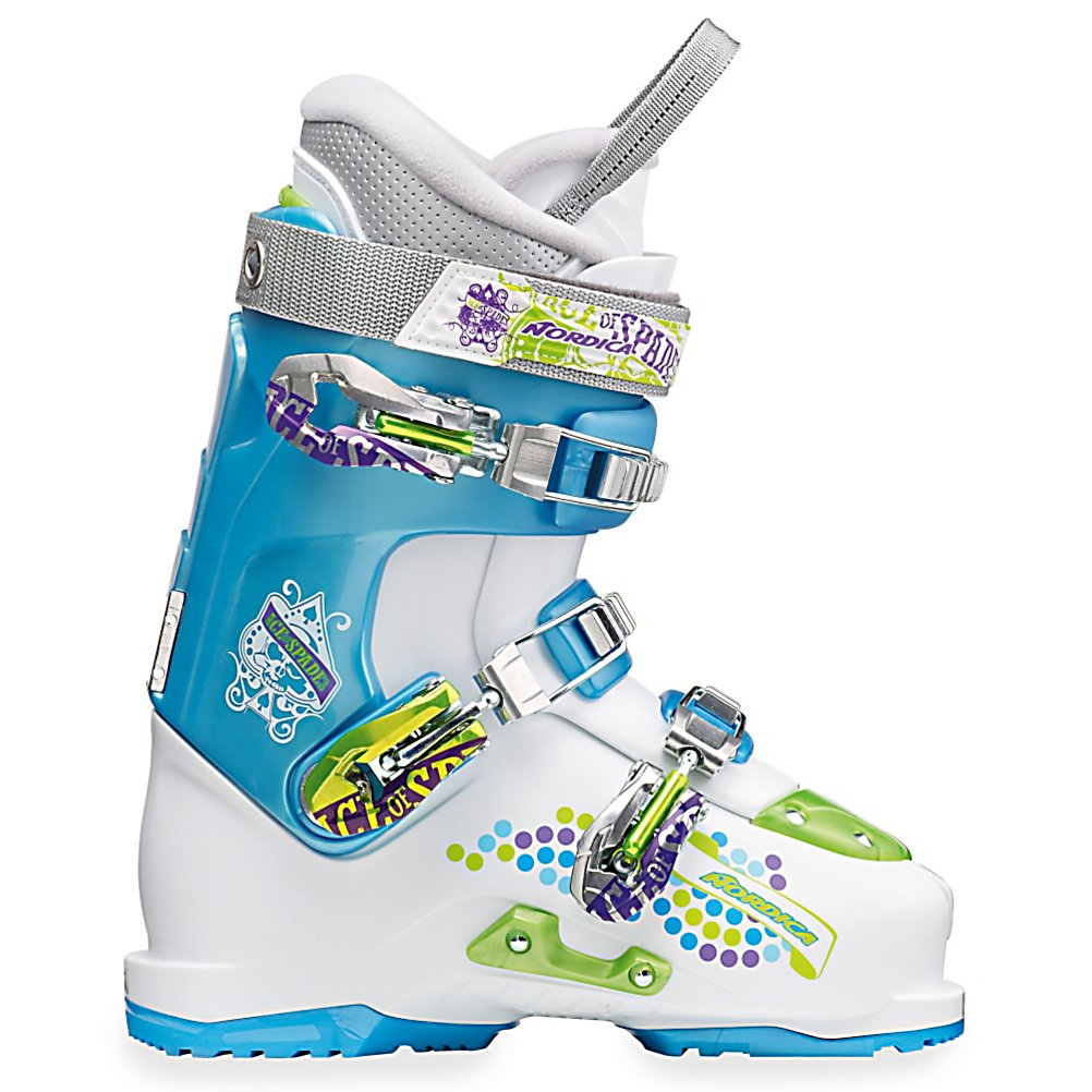 Ski Nordica Ace of Spades Team Girls Ski Boots - For the young one that loves to spend their time in the park and the pipe, the Ace of Spades Ski Boots by Nordica is high performance and perfect for the future X-Gamer. Designed by Nordica pro athletes, these boots have a 45 Degree Instep Retention which provides the maximum amount of heel retention and forefoot comfort so you're fit can be secure inside these boots. Easy entry and exit are also made possible by this 45 degree feature. Its Progressive Flex offers a buttery initial flex for easy ankle flexion and a high level of support on the landing. Finally, a super speedy rebound makes it so they can have a quick and easy recovery. These Ace of Spades Full Shock Eraser removes the impact on heel, toe, calves and shins for improved performance and a High Traction Rubber Toe and Heel gives them the traction and stability you need with walking over hard surfaces and rocks. When your child dreams of pulling tricks in the park and pipe, they are wearing the Nordica Ace of Spades Boots. . Actual Flex: 10-3-H, Cuff Alignment: None, Warranty: One Year, Special Features: Full Shock Eraser, Ski Boot Width: Medium (100-103mm), Special Features: Progressive Flex with Tongue Rebound, Flex: Stiff, Used: No, Ski/Walk: No, Prewired For Heat: No, Number of Micro Buckles: 3, Forefoot Width: 100mm at Reference Size 25.5, Flex Adjustment: No, Buckle Count: 3, Buckle Material: Alloy Buckles, Category: Freestyle, Ski Gear Intended Use: Freestyle, Instep Height: Medium, Calf Volume: Medium, Ski - $149.91