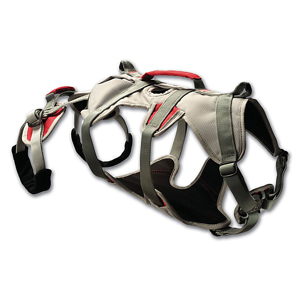 Ski Ruffwear Doubleback Harness - When you need a heavy-duty, strength rated harness for your pup, the Ruff Wear DoubleBack wants to help. This strength-rated belay harness will open up areas that were previously difficult or downright impossible for dogs to access, while providing an increased level of safety, comfort, and convenience. The DoubleBack Harness is designed to safely lift and lower dogs in exposed areas. Features: Padded belly support, adjustable frame, and leg loops for steady weight dispersion, Leg loops tuck away for increased mobility during approach. Model Year: 2014, Product ID: 272680, Model Number: 3030-035M, GTIN: 0748960213916 - $124.95