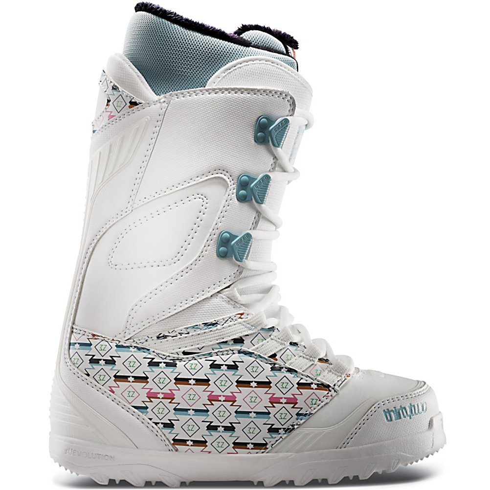 Snowboard ThirtyTwo Lashed Womens Snowboard Boots - Lightweight without compromising support, the ThirtyTwo Womens Lashed is one of the most versatile boot in the line. The Independent Lacing Eyestays create optimal leverage as you tighten your laces, so the more you wear it, the better it wraps. ThirtyTwo also added a new bumper to the top of the toe box to offer protection from the everyday wear and tear of toe straps and edges. STI Evolution Foam provides better cushioning than traditional foam materials and dramatically reduces the weight of this boot. The Level 3 liner is heat moldable for a custom fit and dual density soft touch Ultralon foam gives you added comfort, warmth and support. Creating true half sizes is another huge step in achieving the best fitting boots with a 1:1 last. Take a minute and look down at the feet of the local female ripper at your home mountain, chances are they're rocking the Womens Lashed. Year after year, this boot is the choice of most pros and resort employees. Features: Performance Backstay, Inner Ankle Lacing System. Material: Level 3 Heat Moldable Liner, Lacing Style: Traditional Lace, Snowboard Best Use: All-Mountain Freestyle, Removable Liner: Yes, Flex: Medium, Warranty: One Year, Intuition Liner: Yes, Brand Lacing Style: Lace, Skill Range: Intermediate - Advanced, Model Year: 2013, Product ID: 315514, Shipping Restriction: This item is not available for shipment outside of the United States., Gender: Womens, Skill Level: Intermediate, Model Number: 8205000103 100 6.5, GTIN: 08867440 - $99.93