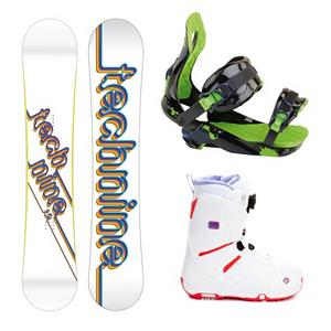 Snowboard Tech Nine T9 White Womens Complete Snowboard Package - The Tech Nine T9 White Complete Snowboard Package is all about fun for the beginner rider looking to progress their skills and have fun on the mountain. The Tech Nine T9 Snowboard is built for fun and function. Stability and performance is the name of the game and the medium-to-soft flex offers the versatility needed to win it. The Rossignol Justice Womens Snowboard Bindings has an Asym Highback which provides easy power transfer between turns without giving up mobility. Magnebed 2.5 underneath your feet is a full length EVA footbed with a magnetic closure system allows for better pop and endless butters. The mellow flexing Salomon Pearl Boa Snowboard Boots offer effortless progression with unmatched convenience. The Boa Lacing system makes dialing in to the right fit and adjustments on the fly incredibly easy ensuring these boots are always at the comfort level you desire. The Feel Good Liner is cushy and secure and the Autofit Foam constructed with flat and full-length high-density memory foam located in the sensitive areas of the foot ensures complete comfort when shredding. The Tech Nine T9 White Complete Snowboard Package is very playful but serious enough to help boost your riding to the next level. . Recommended Use: Freestyle, Snowboard Rocker Profile: Camber, Package Type: Board, Boots, and Bindings, Skill Range: Beginner - Advanced Intermediate, Product ID: 312450, Gender: Womens, Skill Level: Beginner - $369.99