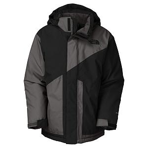 Ski The North Face Brightten Triclimate Boys Ski Jacket - The North Face Brightten Triclimate Boys Jacket will support any unexpected forecast keeping you warm and dry allowing you to practice your sport with confidence. The North Face Brightten Triclimate Ski Jacket is versatile and provides optimal movement so your boy can push himself to his limits. With a waterproof, breathable seam sealed exterior keeps the warmth in protects you from the cold brisk elements. The removable hood gives you options for more protective coverage when needed and eliminate it on that beautiful mild sunny day. This North Face Brightten Triclimate Ski Jacket has great design and will mix and match with any North Face Ski Pants to complete your warmth package. Features: Glove clip, Powder skirt, Adjustable drawcord system at hem, Adjustable cuff tabs with Velcro closure, Goggle cloth. Exterior Material: HyVent/100% Polyester, Insulation Weight: 72g, Taped Seams: Fully Taped, Waterproof Rating: 18,000mm, Breathability Rating: 18,000g, Hood Type: Removable, Pit Zip Venting: No, Powder Skirt: Yes, Warranty: Lifetime, Use: Ski, Battery Heated: No, Race: No, Rain Jacket: No, Type: 3-in-1 Jacket, Cut: Regular, Length: Medium, Insulation Type: Synthetic, Waterproof: Moderately Waterproof (5000mm-19,999mm), Breathability: Very High Breathability (>15,001g), Cuff Type: Velcro, Wrist Gaiter: No, Waterproof Zippers: No, Cinch Cord Bottom: Yes, Model Year: 2013, Product ID: 270174, Shipping Restriction: This item is not available for shipment outside of the United States., Insulator: No, Hood: Yes, Goggle/Sunglasses Pocket: Yes, Electronics Pocket: Yes, Pockets: 4-5 - $89.95