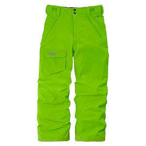 Ski The North Face Freedom Insulated Kids Ski Pants - The North Face Freedom Insulated Kids Pants step it up with warmth, protection and cool looks. The Freedom Insulated Ski Pants are waterproof/breathable, insulated, durable and you can hit the mountain knowing your lower half is protected from cold wintry elements. The fully seam sealed HyVent 2L fabric is on the exterior and if features warm and lightweight insulation on the inside. Cargo pocket at right thigh is ideal to stash resort trail map. Easy Grow cuffs at leg openings unravel 2 ins to extend length of pant as boys grow. Features: Snap front closure, Gaiter with gripper elastic, Reinforced kickpatch, Embroidered logo at cargo pocket. Model Year: 2013, Shipping Restriction: This item is not available for shipment outside of the United States., Product ID: 270200, Pockets: 3-4, Waist: Elastic, Lining Material: Nylon Taffeta, Cut: Regular, Type: Insulated, Use: Ski, Breathability: Very High Breathability (>15,001g), Waterproof: Moderately Waterproof (5000mm-19,999mm), Race: No, Warranty: Lifetime, Articulated Knee: Yes, Suspenders: None, Thigh Zip Venting: No, Full Zip Sides: No, Breathability Rating: 18,000g, Waterproof Rating: 18,000mm, Taped Seams: Fully Taped, Insulation Weight: 60g, Exterior Material: Nylon - $79.95