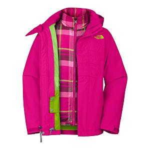 Ski The North Face Mellia Triclimate Girls Ski Jacket - The Northface Mellia Triclimate Jacket is versatile and adaptable with removable hood, zippered hand pockets, internal media pocket, key clip and glove clip, powder skirt, zippered pass pocket, adjustable cuff tabs with velcro closure and the inner plaid liner makes this jacket awesome for insulation on cold winter days. The Mellia Triclimate Jacket has such character, style and color, you have choices of how you wear this jacket - mix it up. Northface always offers quality, durability and a perfect fit, The Mellia adds to the perfection with fashion and design. Features: Glove clip, Powder skirt, Zippered pass pocket, Adjustable drawcord system at hem, Adjustable cuff tabs with Velcro closure, Goggle cloth, ID label. Exterior Material: Polyester, Softshell: No, Insulation Weight: 200g, Taped Seams: Critically Taped, Waterproof Rating: 675mm, Breathability Rating: 675g, Hood Type: Removable, Pit Zip Venting: No, Pockets: 1-3, Electronics Pocket: No, Goggle/Sunglasses Pocket: No, Powder Skirt: Yes, Hood: Yes, Warranty: Lifetime, Use: Outdoor, Battery Heated: No, Race: No, Rain Jacket: No, Type: 3-in-1 Jacket, Cut: Regular, Length: Medium, Insulation Type: Synthetic, Waterproof: Water Resistant (1000mm), Breathability: Low Breathability (< 4000g), Cuff Type: Velcro, Wrist Gaiter: No, Waterproof Zippers: Yes, Cinch Cord Bottom: No, Insulator: No, Model Year: 2012, Product ID: 229692, Shipping Restriction: This item is not available for shipment outside of the United States. - $89.95