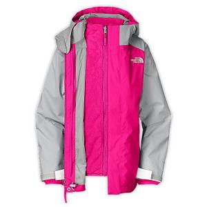 Ski The North Face Fallon Triclimate Girls Ski Jacket - A ski lesson or long lift ride doesn't feel like cold torture to your snow princess once you get her The North Face Girls Fallon Triclimate Ski Jacket. She will be protected with the warmth of the HyVent shell that surrounds her. The ample Heatseeker insulation keeps the heat closest to her body when the most brutal cold fronts roll in unexpectedly. The fully sealed seams and fixed hood add extra needed warmth - so no brisk winds and snow fall will hold you girl back from having awesome outdoor fun and practice her sport to exceed her limits. Having the fleece inner jacket and the outer shell allows you to wear The North Face Fallon Jacket in different temperature changes, suiting all your needs. Features: Adjustable drawcord system at hem, Adjustable cuff tabs with Velcro closure, Internal media pocket. Breathability Rating: 18,000g, Hood Type: Fixed, Pit Zip Venting: No, Powder Skirt: No, Warranty: Lifetime, Battery Heated: No, Breathability: Very High Breathability (>15,001g), Cuff Type: Velcro, Wrist Gaiter: No, Waterproof Zippers: No, Cinch Cord Bottom: Yes, Model Year: 2013, Product ID: 270132, Shipping Restriction: This item is not available for shipment outside of the United States., Insulator: No, Waterproof: Moderately Waterproof (5000mm-19,999mm), Insulation Type: Fleece, Length: Medium, Cut: Regular, Type: 3-in-1 Jacket, Rain Jacket: No, Race: No, Use: Ski, Hood: Yes, Goggle/Sunglasses Pocket: Yes, Electronics Pocket: Yes, Pockets: 4-5, Waterproof Rating: 18,000mm, Taped Seams: Fully Taped, Insulation Weight: None, Exterior Material: 100% Polyester - $129.95
