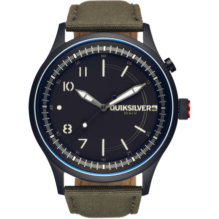 Camp and Hike Hit the street with the Quiksilver Admiral Canvas Watch and dress to impress without emptying your piggy bank. With a single dial on the side and a stainless steel case and leather strap, this watch has the clean, simple style of a timepiece twice the price. And for the sleeping-on-the-beach crowd, the simplicity is a nice touchit means less electronics to maintain when your entire life consists of a sleeping bag, a board, and a few containers of ramen. - $170.00