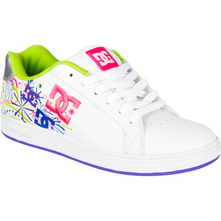 Skateboard Your girl is sure to love the bright colors and festive design on the DC Pixie Fireworks Girls' Skate Shoe. She'll also be stoked on the way the lightweight, cushy UniLite Plus midsole softens her step, and the elastic lace closure that makes it a breeze to get her shoes on and off. Plus, you won't have to worry about her wearing through these in a week thanks to a durable leather upper and abrasion-resistant rubber sole. - $40.50