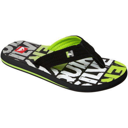 Surf Shoes are overrated. On a hot summer day, the first thing your kid puts on your foot should be the Quiksilver Boys' Foundation Cush Flip Flop. He's just going to wander down to the beach or hit the pool anyway, so why bother with laces, or any footwear that requires the use of socks. - $16.00
