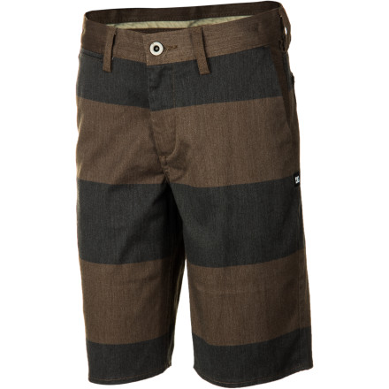Motorsports Your boy may not be old enough to join the workforce yet, but he can still rock the workwear-inspired DC Worker Slim Boys' Short for all his summer activities. The cotton blend fabric is flexible for freedom of movement when he's skateboarding, and it has a slim fit for a stylish modern look that he can wear any time. - $38.00