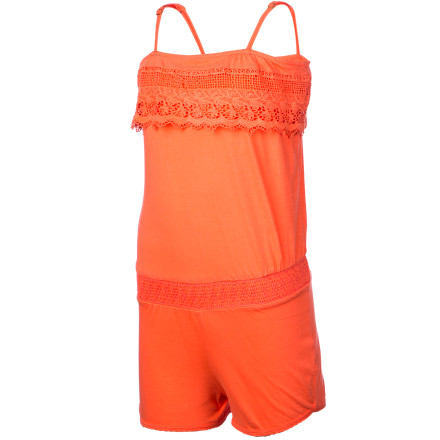Entertainment The sporty O'Neill Girls' Natty Romper gets a sweet topping with its pretty crochet ruffle. A smocked comfort waistband adds flattering shape and feminine style, and the adjustable straps give just the right coverage and a custom fit. This summery romper provides the playful convenience you love about a one-piece but delivers it with girlish flair. - $35.95