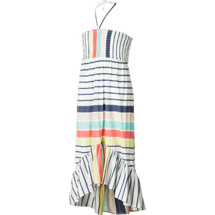 Entertainment Your little surfer-girl will be the belle of the beach in the sweet and sporty O'Neill Girls' Isla Del Sol Dress. Mixing the feminine with the fun, this halter-top dress features a high-low ruffled hemline, smocked bodice, and allover bold-stripe print. The drawstring tie lets her get just the right fit, and the soft all-cotton heathered jersey breathes for cool summertime comfort. - $39.45