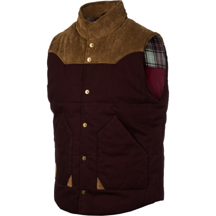 The workwear-meets-western Sitka Catch & Release Vest features authentic snap-button closures, a quilted cotton interior, and a contrast-color corduroy yoke. - $80.47