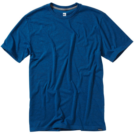 Surf Sometimes it's best to keep your look simple and clean, and the Quiksilver Men's Blank Heather Slim T-Shirt accomplishes just that. A touch of rayon adds some stretch to the cotton-and-poly blend fabric, which breathes easy and feels comfortable as all get-out on hot summer days. - $22.00