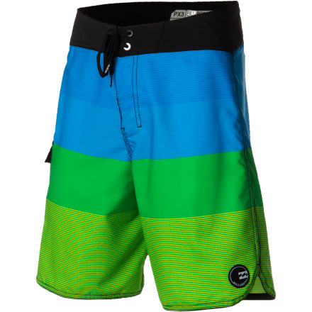 Surf The Billabong Striker Board Short features bold color-blocking and four-way-stretch Platinum X fabric that's just as tech as it sounds. A slightly shorter 20-inch inseam offers a modern look that won't hang up on your kneecaps when you stand up from your paddle. - $54.95