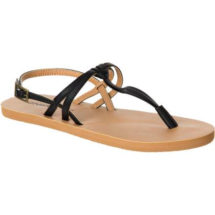 Surf The O'Neill Women's Emmie Sandal simply oozes chic style with its faux leather materials, T-strap with slotted details, and poppy color. - $23.36