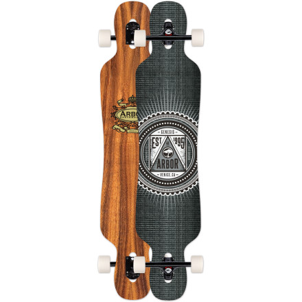 Skateboard Arbor's flagship cruiser model, the Genesis Koa Longboard features expanded kicktails for pulling off new-school freestyle moves and a fiberglass-enhanced flex for reactive carving and pumping. Choose between 38- and 44-inch lengths depending on whether you prefer more maneuverability or more high-speed stability. - $259.95