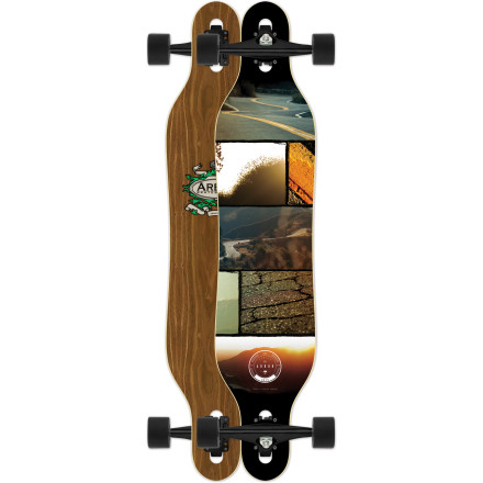 Skateboard The Arbor Axis Walnut Longboard has a drop-through freeride design with a slight camber profile and snowboard-inspired geometry. This super-fun stick will have you sliding, drifting, and pumping both regular and switch thanks to a symmetrical twin shape and extra-stable 10-inch Gullwing Charger trucks. - $191.95